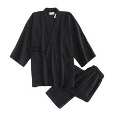 Czarny kimono szaty dla mężczyzn 100 zestawy piżam bawełnianych japoński sauna szlafroki męskie piżamy pijama hombre SPA homewear szlafroki mężczyźni tanie tanio Połowa Stałe COTTON V-neck 2018-6-13 11 50 07 Elastyczny pas REGULAR mialucce