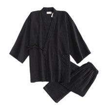 Japanese simple Black kimono robes men 100% cotton pajamas sets men sauna robes pyjamas hombre SPA sleepwear bathrobes for male