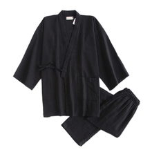 Nhật Bản Màu Đen Đơn Giản Kimono Áo Choàng Nam 100% Cotton Bộ Đồ Ngủ Bộ Áo Xông Hơi Áo Pyjamas Hombre SPA Đồ Ngủ Áo Choàng Tắm Dành Cho Nam