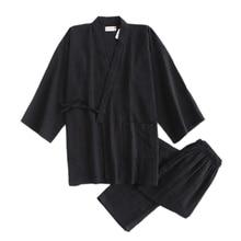 Túnicas de kimono negras y sencillas japonesas para hombre, conjuntos de pijamas de algodón de 100%, batas de sauna, albornoces para dormir de SPA para hombre
