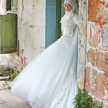 Plus Size Neck Arabic Hijab Muslim Wedding Dresses with Long Sleeves 2015 New Arrival Appliques Lace White Bridal Gown