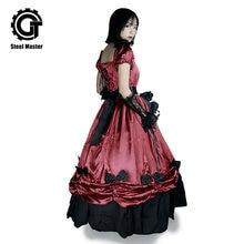 Длинное японское платье в стиле Лолиты с бантом красное темпераментное