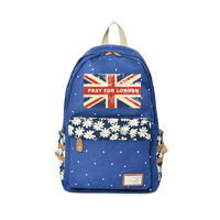Pray For London Backpack Flower wave point Rucksacks British flag For Teenagers 2018 New Backpacks Kids Boys&Girls Fashion Bags