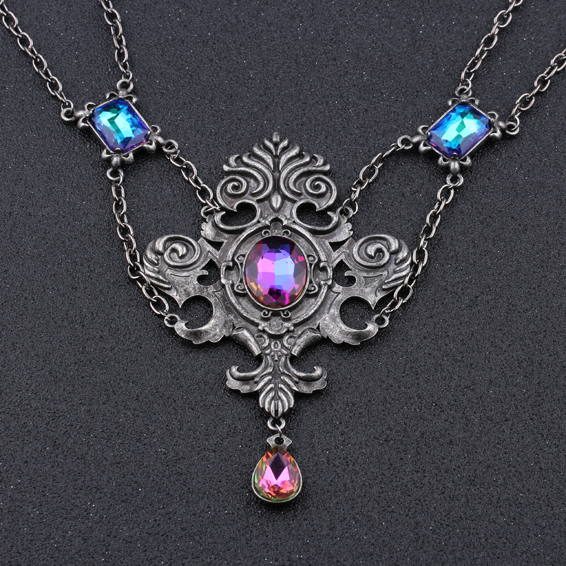 Trendy Stone Vintage Necklace Women Water Drop Crystal Necklaces Pendants Geometric Zinc Alloy Link Chain Big Necklace Jewellery