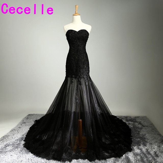 2017 New Black Mermaid Long Prom Dresses Sweetheart Beaded Lace Liques Sheer Skirt S Semi Formal
