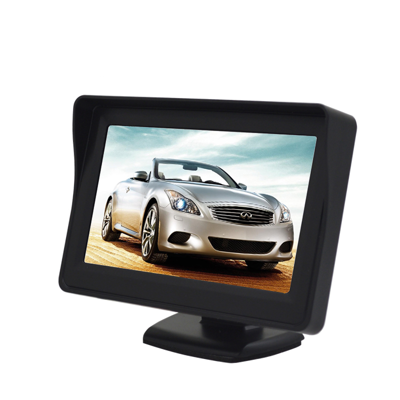 Free Shipping 4.3inch TFT LCD Car Parking Monitor 2 Video Input Reversing Auto Monitor For Rear View Camera