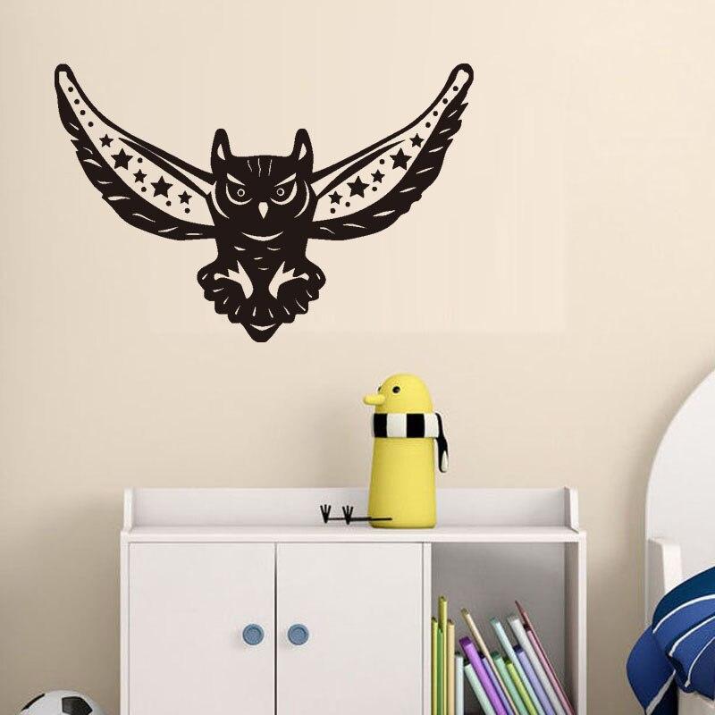 Сова Книги по искусству Наклейки на стены Домашний декор для детской комнаты Ночная птица Наклейки на стену винил Гостиная росписи