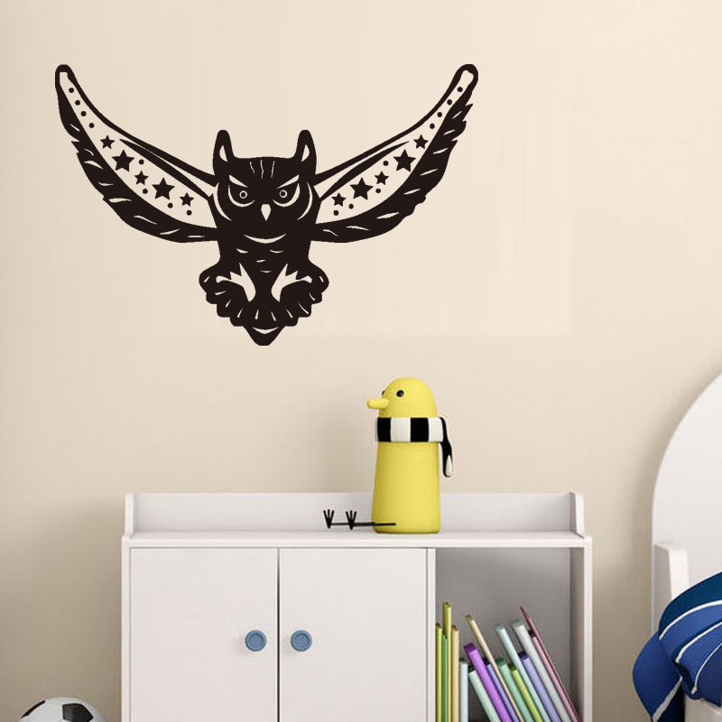 Owl Art Wall Decals Home Decor For Kids Room Night Bird Wall Stickers Vinyl Living Room Mural