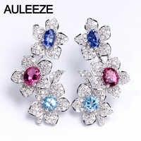 Real Natural Sapphire Tourmaline Topaz Drop Earrings 14K 585 White Gold Flower Earrings Oval Cut Multi Gemstone Earrings Jewelry