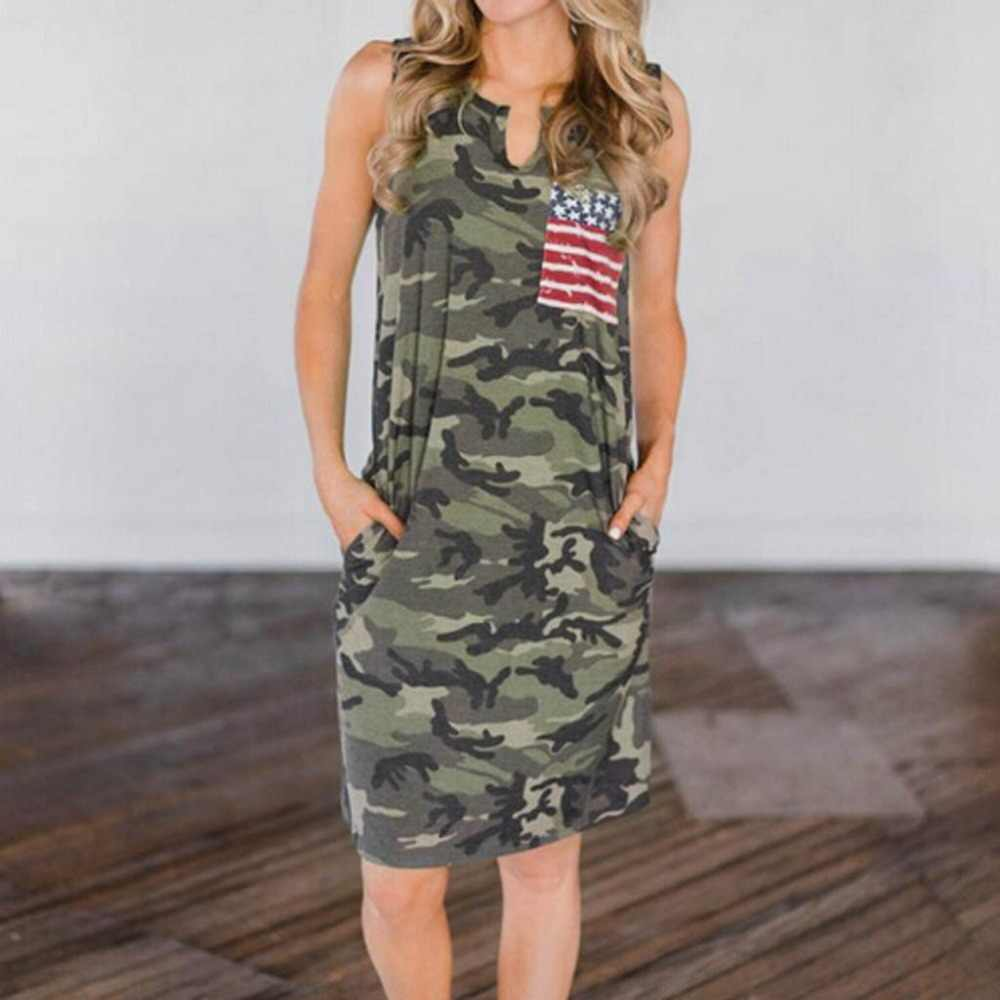 2019 New Summer Fashion Women Sexy Tank Dress Slim Casual Camouflage Military  Print  Dresses vestido casual zomerjurk dames 3fn