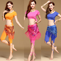 New Style Belly Dance Costume Latin Dance Set Bellydance Clothing Indian Dancing Pants Set 3pcs Top