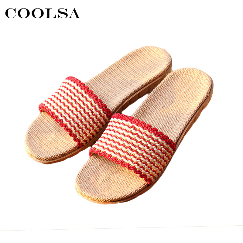 Coolsa New Summer Women Linen Slippers Striped lace Flip Flop Flax Fabric Non-slip Slides Indoor Female Casual Beach Sandals Hot coolsa new summer linen women slippers fabric eva flat non slip slides linen sandals home slipper lovers casual straw beach shoe page 8