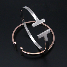 2015 New design smooth cuff T bangle gold opening bracelet for men and women fashion party jewelry