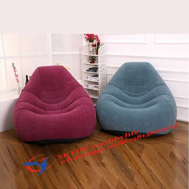 Deluxe Beanless Bag Chair.Flocked Velvet Deluxe Intex Beanless Bag Inflatable Chair