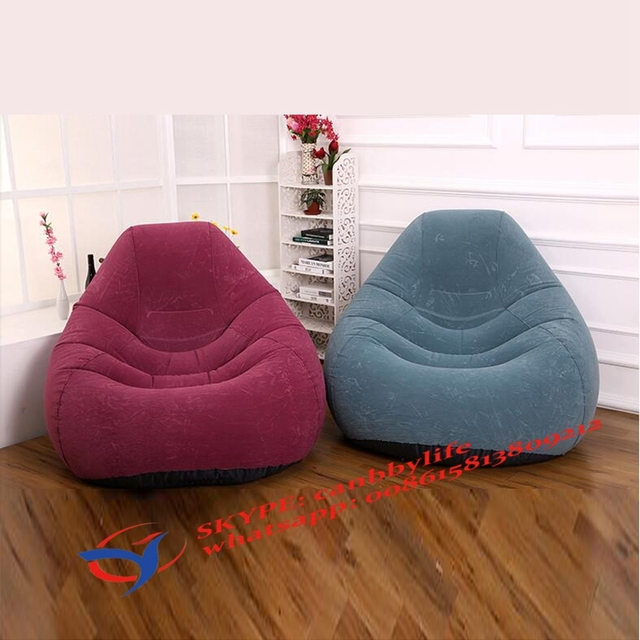 Intex Inflatable Chairs Cell Phone Chair Flocked Velvet Deluxe Beanless Bag With Puncture Resistant Bottom Pink Purple