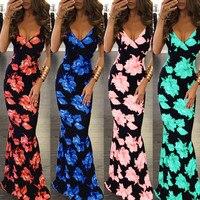 2017 verkoop promotie polyester trompet/mermaid print geen plus size vrouwen sexy dames zomer dress party lange jurken vrouwelijke