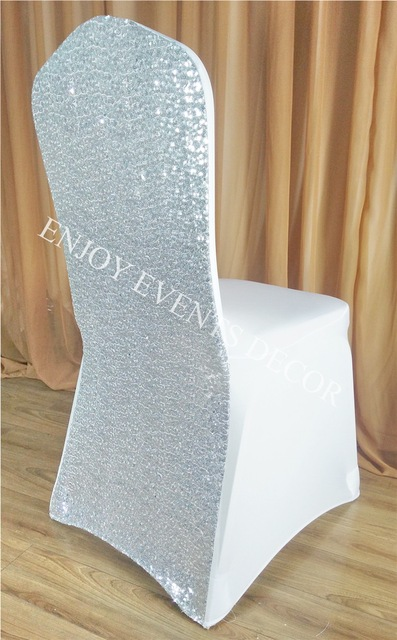 100pcs YHC#33 Luxury Sequin Back Silver Spandex Lycra Wedding Banquet  Events Polyester Stretchy Chair