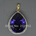 Amethyst Jewellry Pear 16x20mm 16.88ct Natural Amethyst And 0.64ct Diamond Solid 14Kt Yellow Gold Gemstone Pendant  CA001