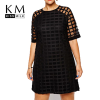 Kissmilk Plus Size Fashion Women Clothing Casual Solid Plaids OL Style Perspective Patchwork Big Size Dress