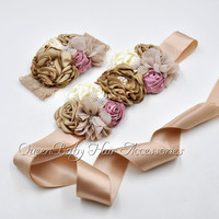 8set Lot Tan Sash Vintage Inspired Flower Sash Matching Lace Headband Maternity Belt Pregnancy Sash Photo