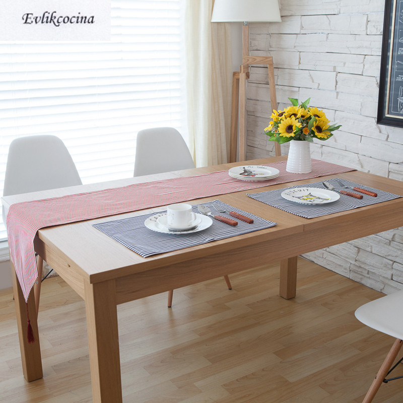 Free Shiping Blue Stripe Placemat Dining Table Coaster Cloth Insulation Coffe Tea Cup Pa ...