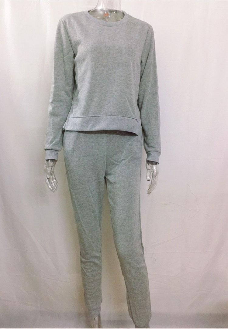 Women Tracksuit Long Sleeve Slit Solid Sweatshirts Casual Suit Women Clothing 2 Piece Set Tops Pants Sporting Suit Female 4