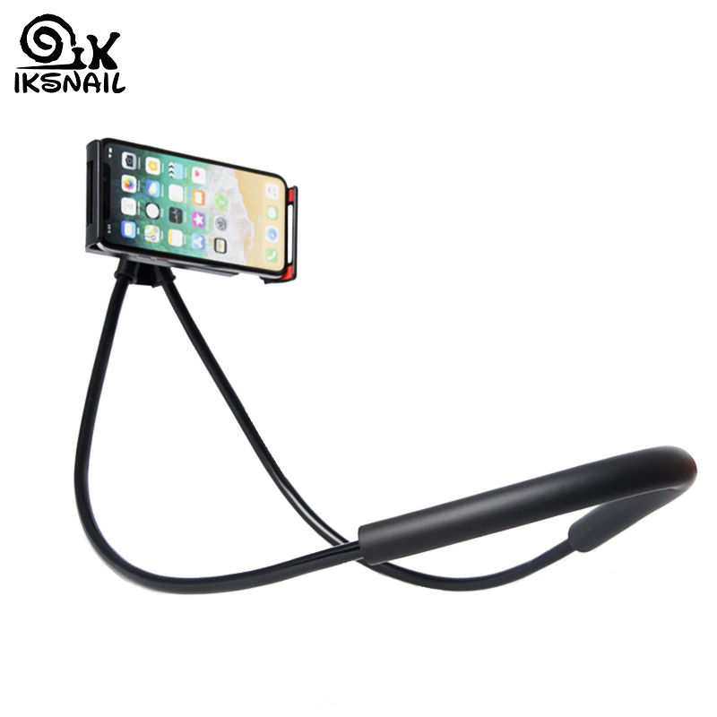 IKSNAIL Adjustable Lazy Neck Phone Holder GPS Stand Universal Support Automobile Bracket For IPhone XS 11 Flexible Phone Holder