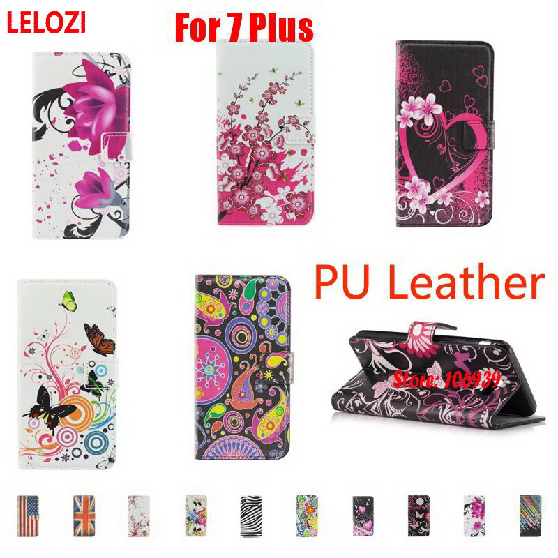 LELOZI Painted PU Leather Wallet Girl Case Etui Bag For iPhone 7 Plus 5.5 Art Luxury Lotus Heart Star Jellyfish Butterfly