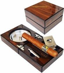 Nieuwe 1 set Cubaanse sigaar asbak, massief houten Doos rvs asbak + Sigaar Punch + Cutter + Houder draagbare Opvouwbare