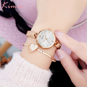 Image 4 - KIMIO New 2020 Women Watches Luxury Rhinestone Rose Gold Ladies Watch Stainless Steel Women Bracelet Watch Quartz Female Clock