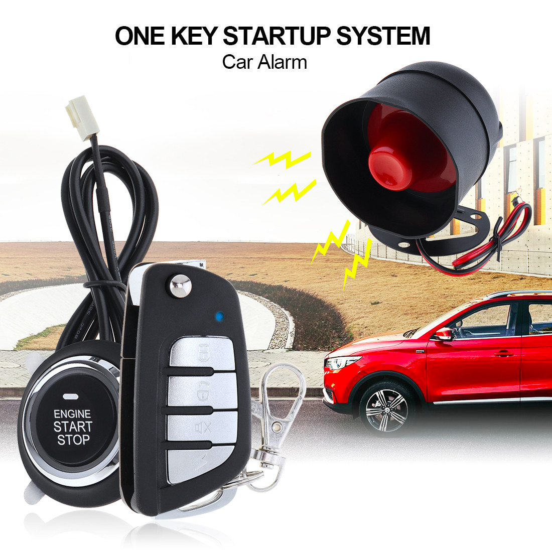 Universal Vehicle Car Alarm Security System Remote Start Stop Button Engine System with Auto Central Lock and Keyless Entry 5AUniversal Vehicle Car Alarm Security System Remote Start Stop Button Engine System with Auto Central Lock and Keyless Entry 5A