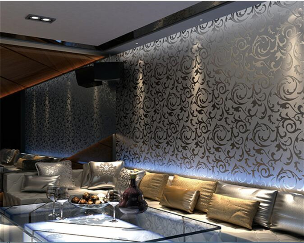 beibehang behang Gold Foil Wallpapers 3d Gold Silver Eucalyptus Leaf KTV Ceiling Living Room Bedroom TV Background 3d wallpaper недорого