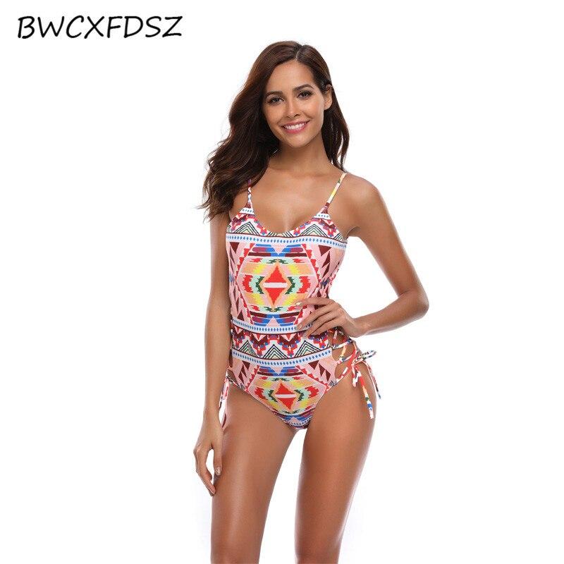 BWCXFDSZ One Piece Swimsuit Women Swimwear Triquini Female Print Bandage Backless Swimming Bathing Suit Bodysuit Beach Swim Wear in Body Suits from Sports Entertainment