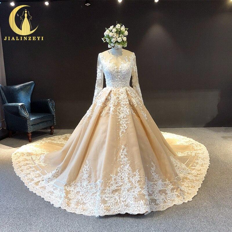 JIALINZEYI Real image manches longues col en V dentelle Appliques avec perles Court Train nu robes de mariée de mariée 2019