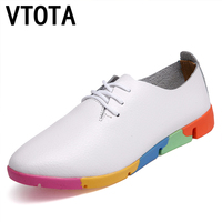 VTOTA Genuine Leather Solid Women Flats Shoes Woman Slip On Shoes For Women Zapatillas Mujer Casual