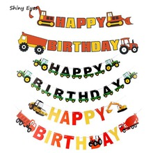 Shiny Eyes Construction Vehicle Happy Birthday Banner Garland Party Supplies Baby Boy Toddler Kids Truck Decorations