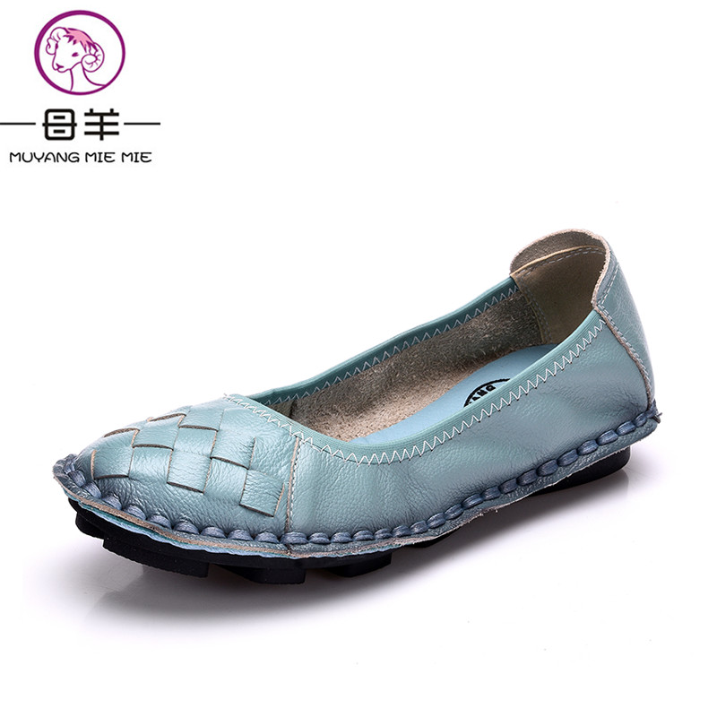 MUYANG MIE MIE 2018 Fashion Spring Genuine Leather Handmade Women Shoes Casual Flat Shoes Woman Comfortable Loafers Women Flats 2018 new genuine leather flat shoes woman ballet flats loafers cowhide flexible spring casual shoes women flats women shoes k726