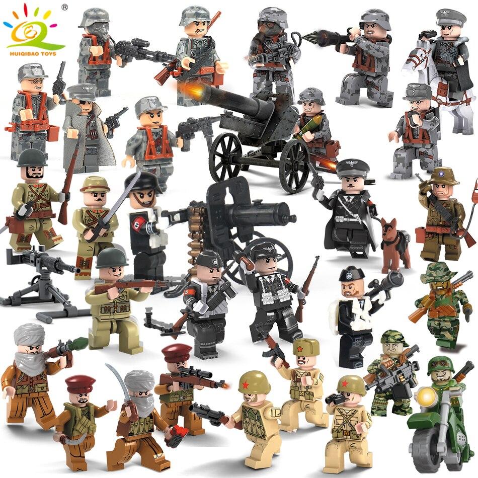 8 pcs Militaire Swat Équipe Armée Allemagne soldats Armes Canons Chiffres WW2 Blocs Blocs enfants Jouets Compatible Legoed Ville Police