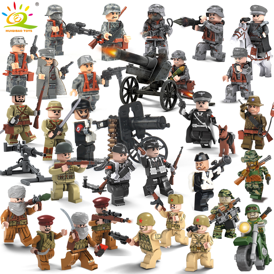 8PCS Military Swat Team Army Germany soldiers Weapons Guns Figures WW2 Blocks Blocks children Toys Compatible Legoed City Police 8pcs army military special forces soldiers ww2 swat model diy building blocks brick figures educational toys gifts boys children