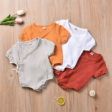 Cotton Newborn Infant Baby Boy Girls Linen Covered Button Bodysuit Newest Fashion Summer Short Sleeve Jumpsuit Clothes Outfits