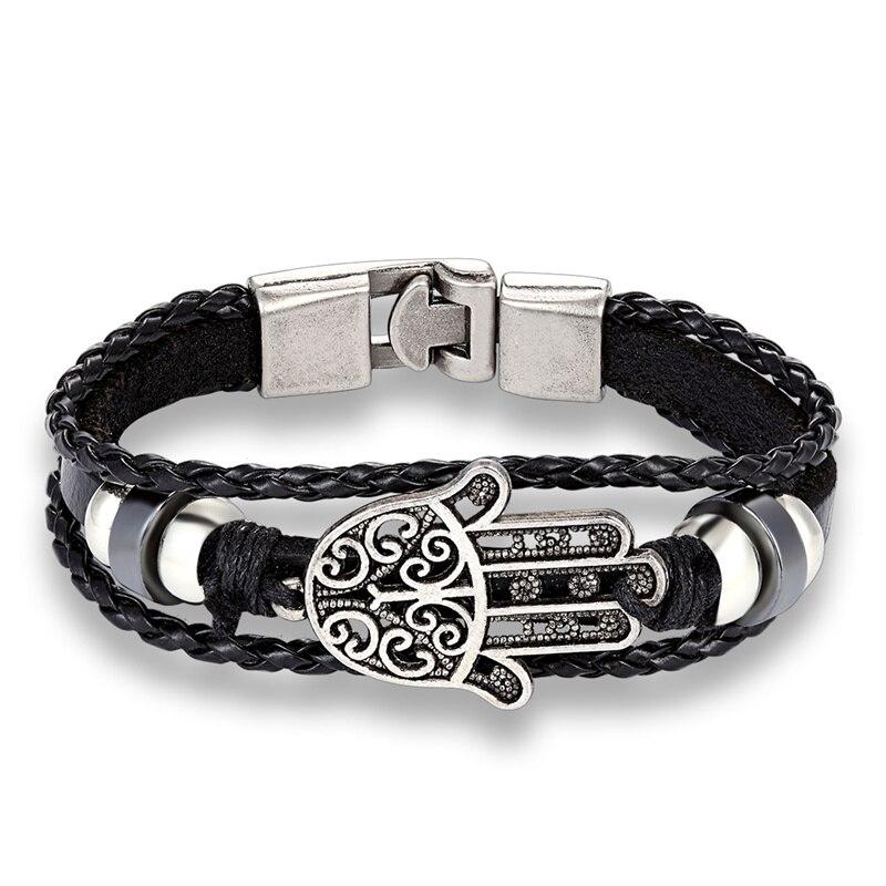 Mode Rétro Multicouche en cuir bracelet bracelet manchette Bracelet Hommes Femmes VENTE