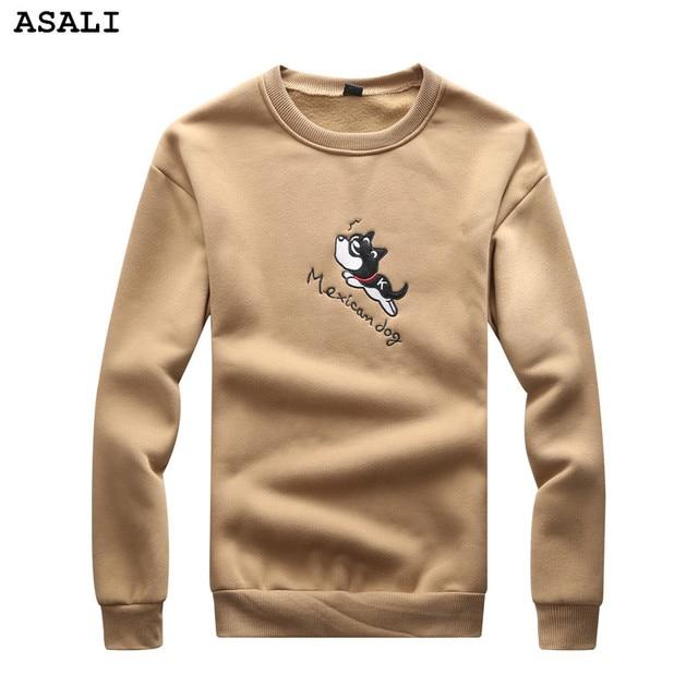 Asali мужчин бренд clothing 2017 весна осень повседневная симпатичная собака вышитые верхней одежды пуловеры мужские толстовки и кофты y25