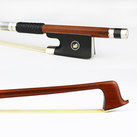 Free Shipping 4/4 Pernambuco Violin Bow Round Stick Natural Horsehair Nickel Silver Screw Ebony Frog Violin Parts Accessories