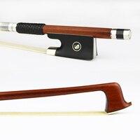 Free Shipping 4/4 Pernambuco Violin Bow Round Stick Natural Horsehair Nickel Silver Screw Ebony Frog Violin Parts Accessories