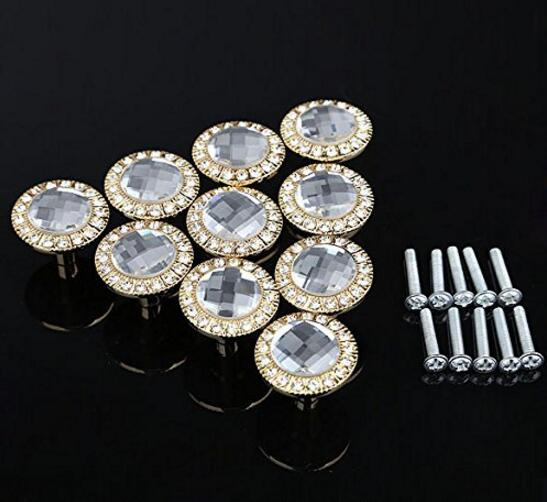 10pcs Glass Dresser Pulls Drawer Pull Handles Crystal Kitchen Cabinet Door Handle Rhinestone Clear Modern Furniture Knobs SJ-500 furniture drawer handles wardrobe door handle and knobs cabinet kitchen hardware pull gold silver long hole spacing c c 96 224mm