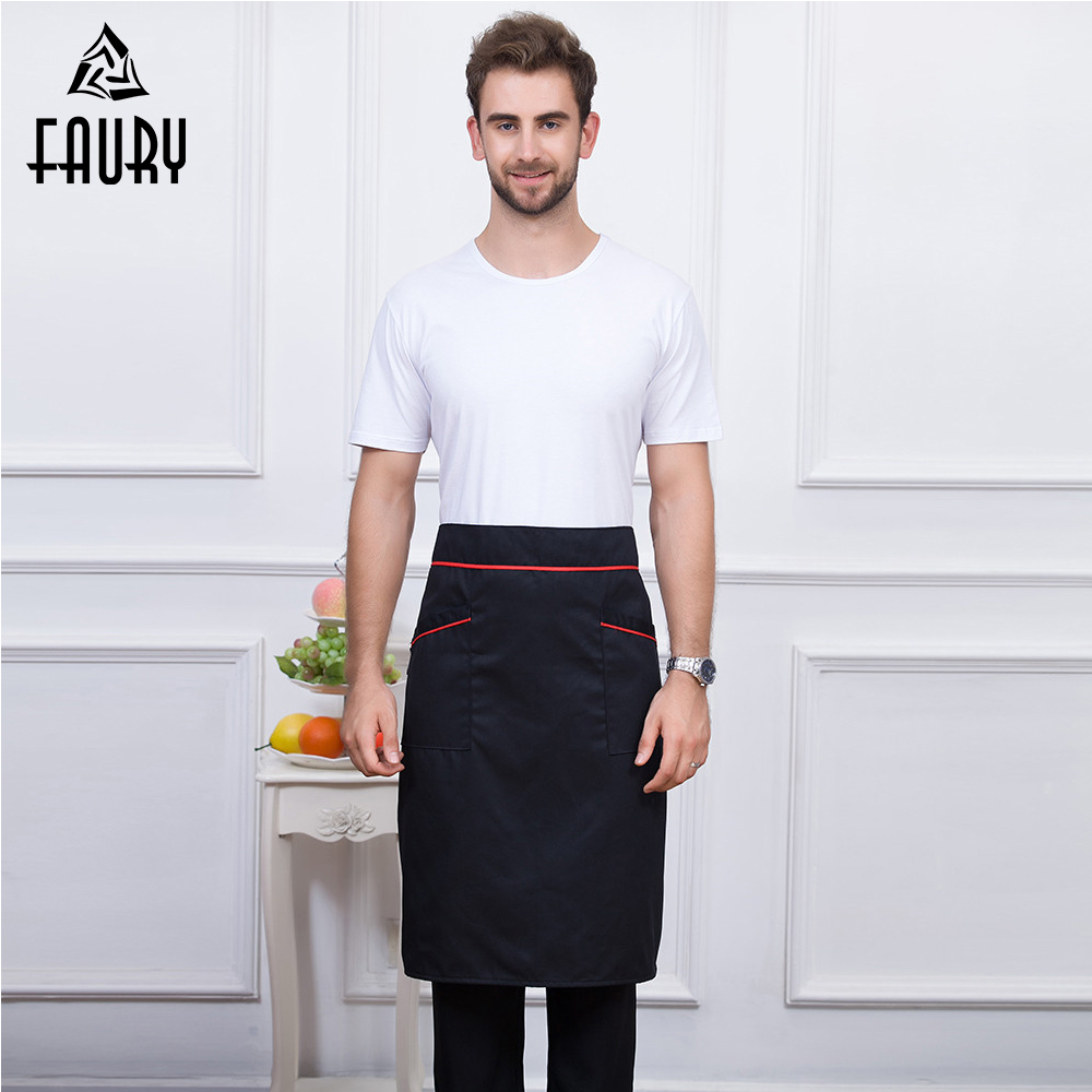 4 Colors Wholesale Unisex Food Services Cooking Restaurant Kitchen Workwear Aprons Waiter Cafe Uniforms Long Aprons With Pocket