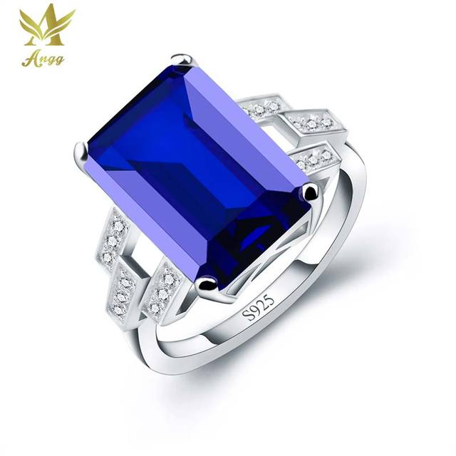 ANGG Women 9.4ct Blue Created Sapphire Ring Wedding & Engagement Jewelry S925 Sterling Silver Ring Square Cuts Cocktail Rings
