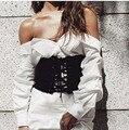 Женская Широкий Высокие Body Shaper Похудения Талией Черные Замшевые Ткань Пояса Cincher зашнуровать Корсет Талии Cummerbunds Ремни платье
