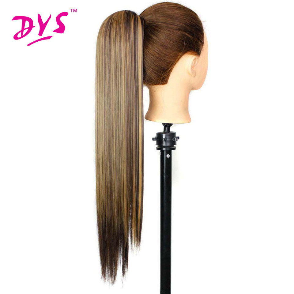 Deyngs Claw In Ponytail Hair Extensions För Kvinnor 60cm 140g Long Straight Fake Hairpieces Värmebeständig Syntetisk Pony Hail