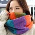 2016 Moda de Nueva Mezcla de colores Anillo Mujeres bufandas de Lana de Punto Cuello de la Capucha Del Abrigo del mantón espesar winter warm Anillo Loop bufanda